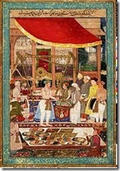 220px-Jahangir_weighing_prince_Khurram_(later_Shah_Jahan)_against_gold_and_silver_in_the_presence_of_Mahabat_Khan_and_Khan_Jahan.