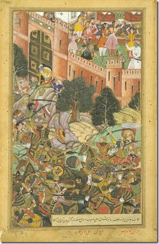 The_Defeat_of_Baz_Bahadur_of_Malwa_by_the_Mughal_Troops,_1561,_Akbarnama
