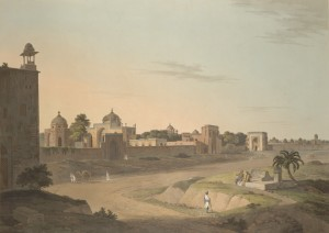 Afsarwala_tomb_and_mosque,_near_Humayun's_Tomb,_1803_painting